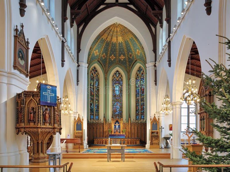 Chor und Altar von Haga-Kirche (Hagakyrkan) in Gothenburg, Schweden lizenzfreies stockbild