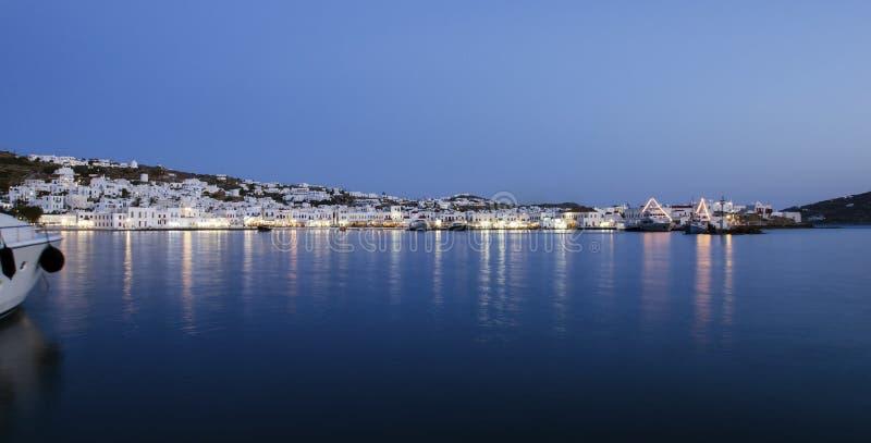 Chora在夜之前,米科诺斯岛,希腊 库存照片