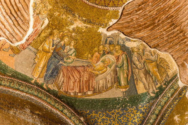 Chora Church. An ancient crumbling mosaic at Chora Church portrays Jesus healing a lame man royalty free stock photography