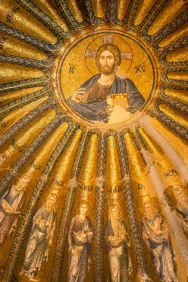 Chora Church. An ancient mosaic of Jesus Christ and his disciples adorns one of the domes at Chora Church in Istanbul, Turkey stock photos