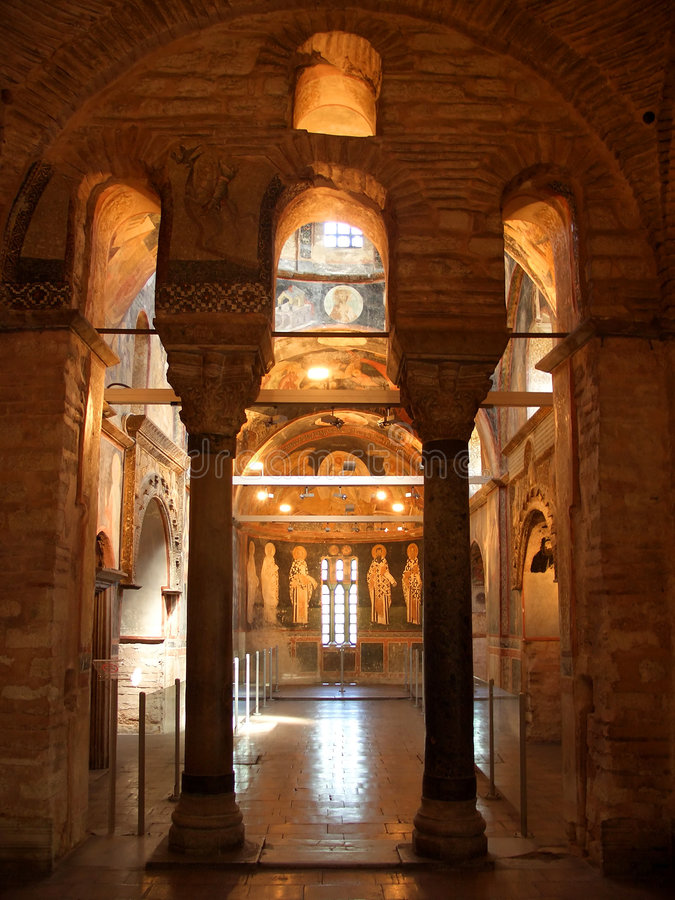 Chora church in Istanbul. Chora christian church interior in Istanbul royalty free stock photos