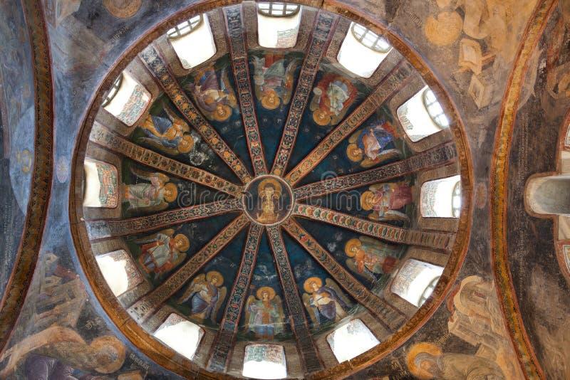 CHORA, den Kariye kyrkan eller museet, inre av byggnaden är lilla viken fotografering för bildbyråer