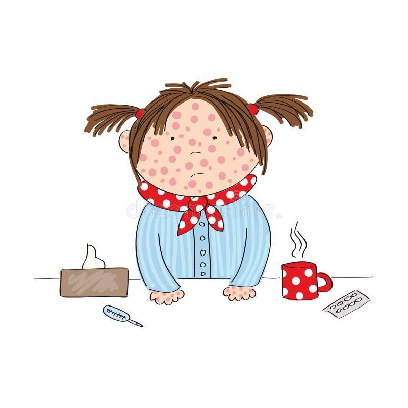 Chora dziewczyna z chickenpox, odra, rubeola lub skóry wysypką, ilustracja wektor