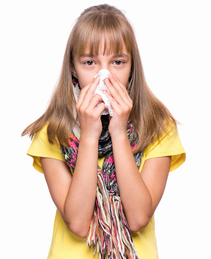 Chora dziewczyna z grypą obrazy royalty free