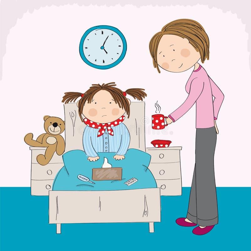 Chora dziewczyna z grypowym obsiadaniem w łóżku, mum przynosi gorącej herbaty ilustracja wektor