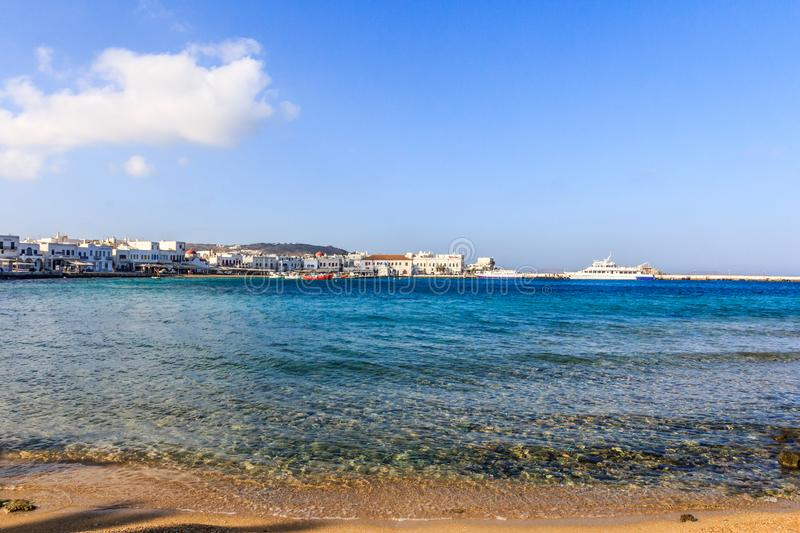 Chora and the harbour. The main town of Chora and the harbour, Mykonos, Greece royalty free stock images