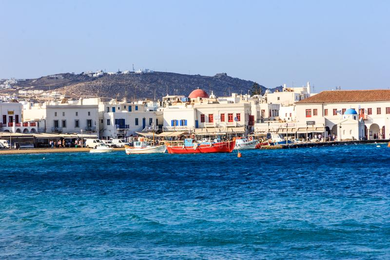 Chora and the harbour. The main town of Chora and the harbour, Mykonos, Greece stock photo