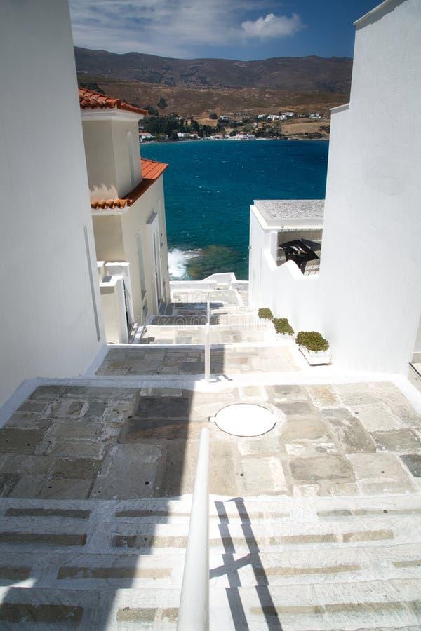 Chora huvudstaden av den Andros ön i Grekland royaltyfria bilder
