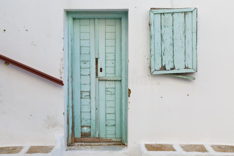 Chora, Ios. Abandoned building in Chora village on Ios island in Greece royalty free stock images