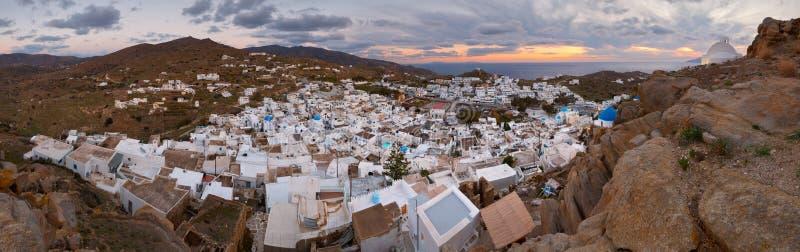 Chora, Ios. Panoramic evening view of the Chora village on Ios island, Greece stock photos