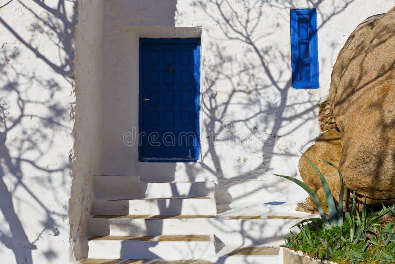 Chora, Ios. Shadow on a building in Chora village on Ios island in Greece royalty free stock photos