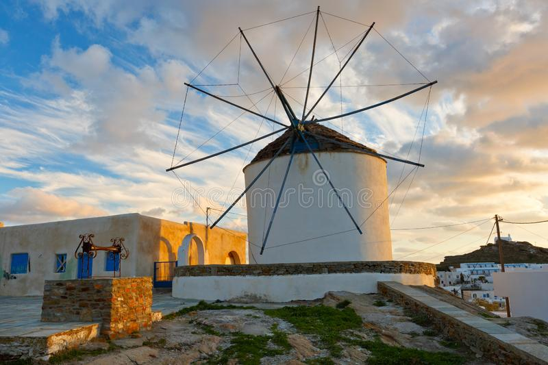 Chora, Ios. Traditional windmill in Chora of Ios island, Greece royalty free stock photography