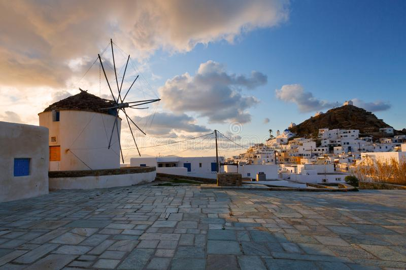 Chora, Ios. Traditional windmill in Chora of Ios island, Greece stock images