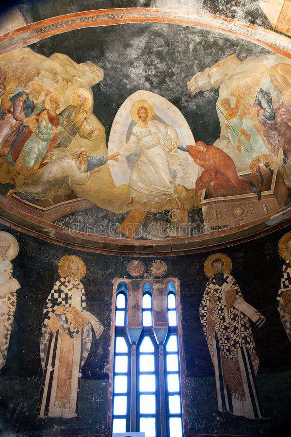 CHORA, Kariye Church or Museum, ISTANBUL, TURKEY. CHORA, Kariye Church or Museum, interior of the building is covered with fine mosaics of narthex paintings and stock images