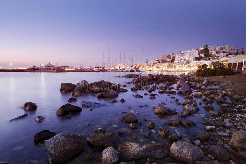 Chora, Naxos на заходе солнца стоковые фотографии rf