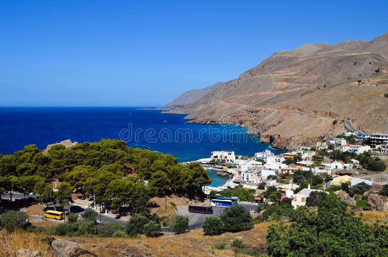 Chora Sfakion. Is the capital of the mountainous region of west Crete royalty free stock photo