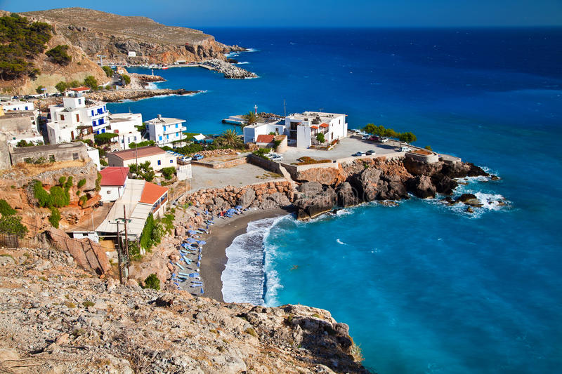 Chora Sfakion from the west side. View of Chora Sfakion - small port town in south Crete stock image