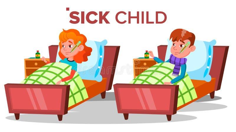 Chora Smutna dziecko dziewczyna, chłopiec Kłama Z termometrem W usta wektorze Odosobniona kreskówki ilustracja ilustracja wektor