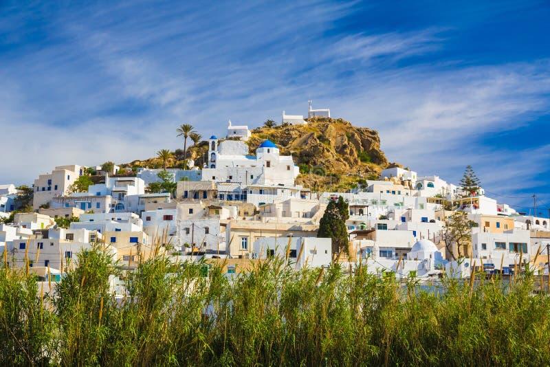 Chora town, Ios island, Cyclades, Aegean, Greece. View on Chora town, Ios island, Cyclades, Aegean, Greece stock image