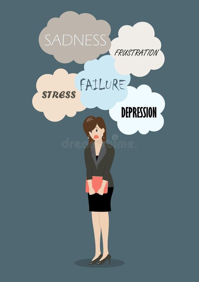 Chorando a mulher de negócio sob muito problema ilustração stock