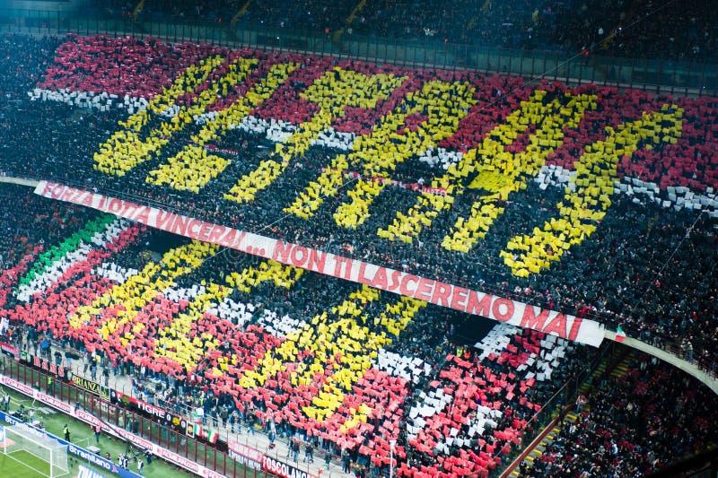Choreografie AC Mailand-Ultras stockbild