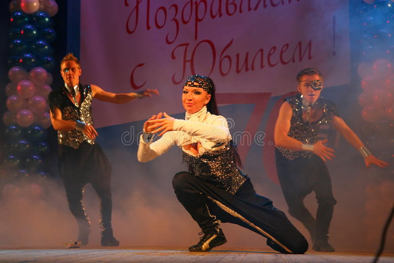 Choreographic miniature in the style of 90-ies - dancers performing troupe of the St. Petersburg music hall. royalty free stock photography
