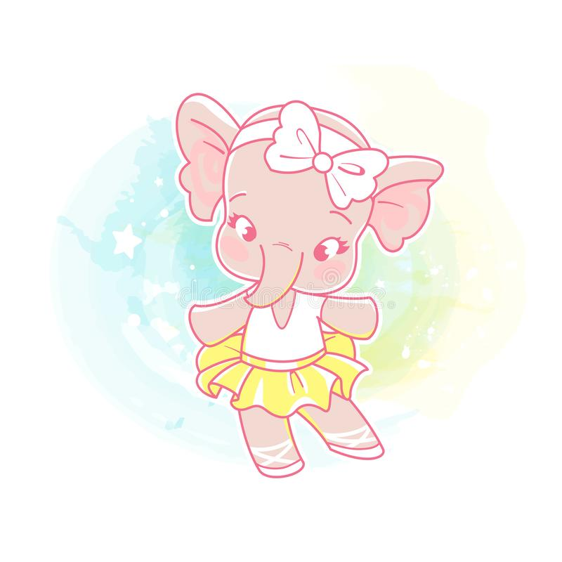 Cute little girl dancing royalty free illustration