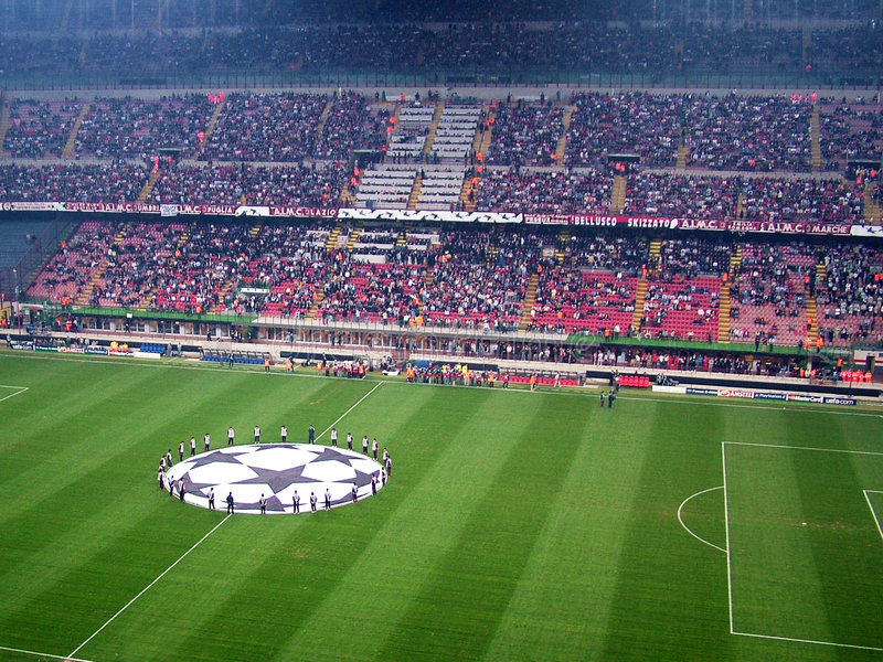 Choreography before the match. Inside a football stadium during a champions league match - The choreography before the match - Milan and Celtic - Milan - Italy royalty free stock image