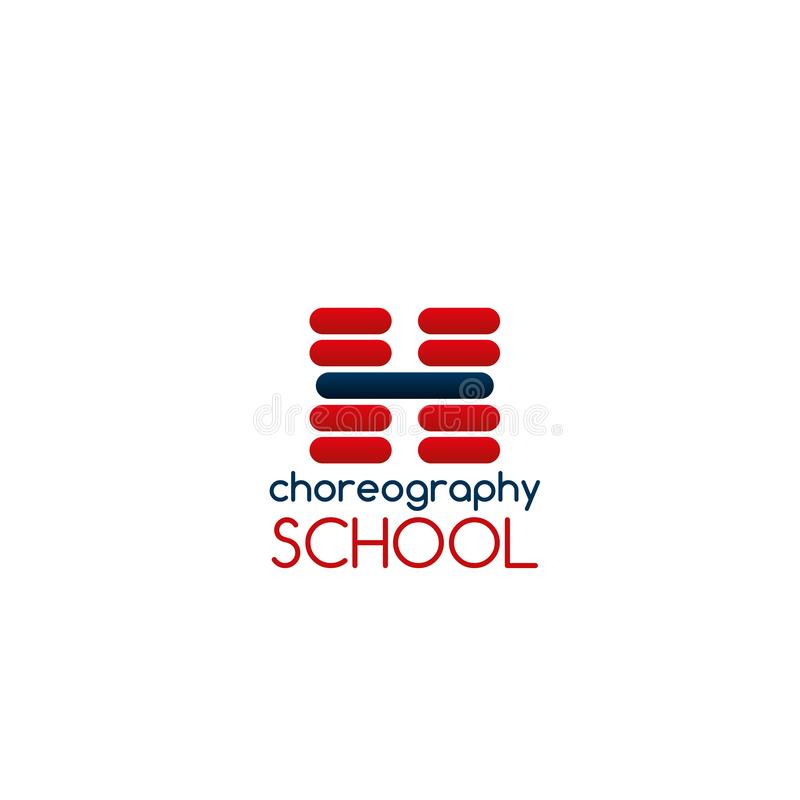 Choreography school vector sign. Choreography school vector emblem. Creative vector sign for dance and choreography studio. Classical dance or ballet dancing stock illustration