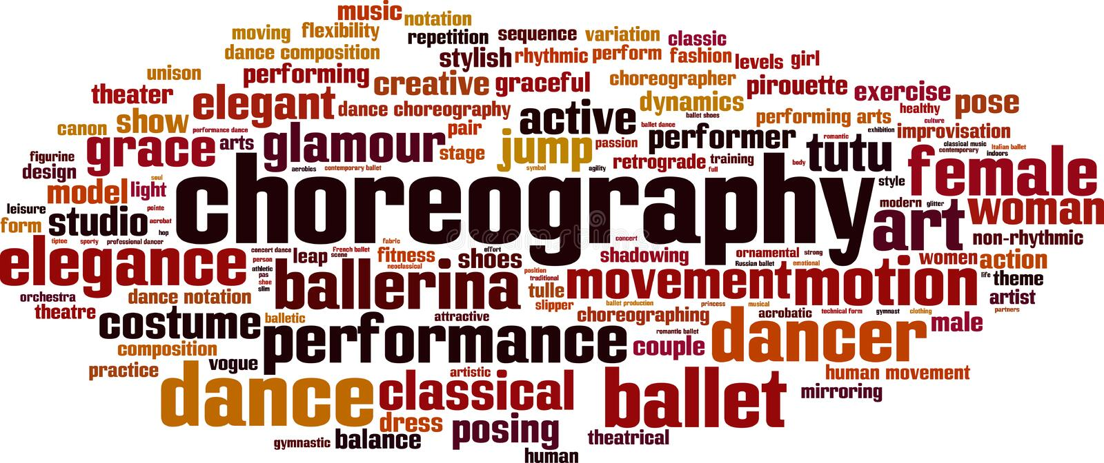 Choreography word cloud. Concept. Vector illustration royalty free illustration