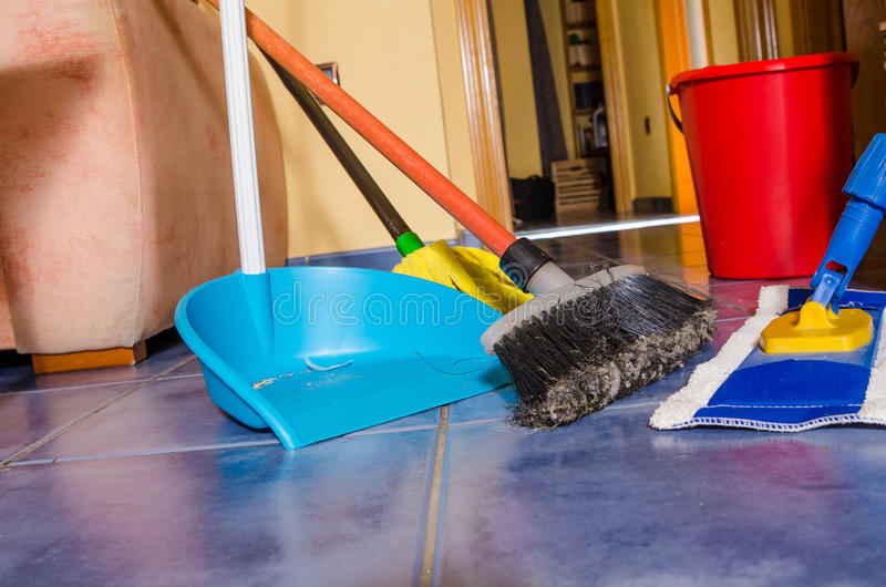 Chores. All sorts of cleaning equipment during the weekly domestic cleanup stock image