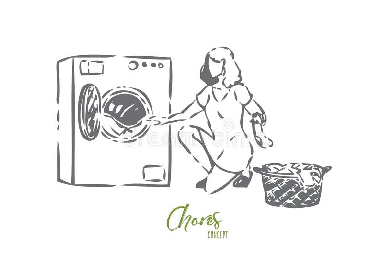 Chores concept sketch. Isolated vector illustration. Chores concept sketch. Woman unloading laundry. Helping around the house. Washing dirty clothes. Using royalty free illustration