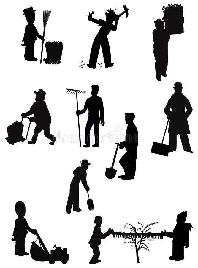 Chores. Men doing a variety of chores thru the seasons in silhouette stock illustration