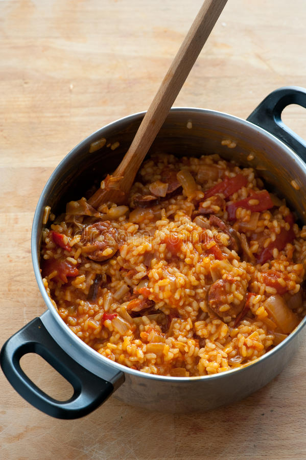 chorizo ρύζι στοκ εικόνες