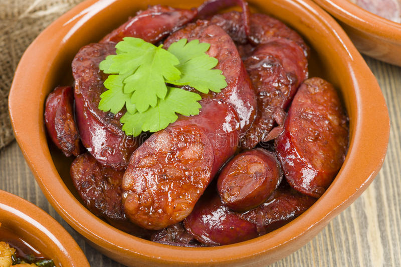 Download Chorizo al Vino stock image. Image of clay, happy, lunch - 31967029