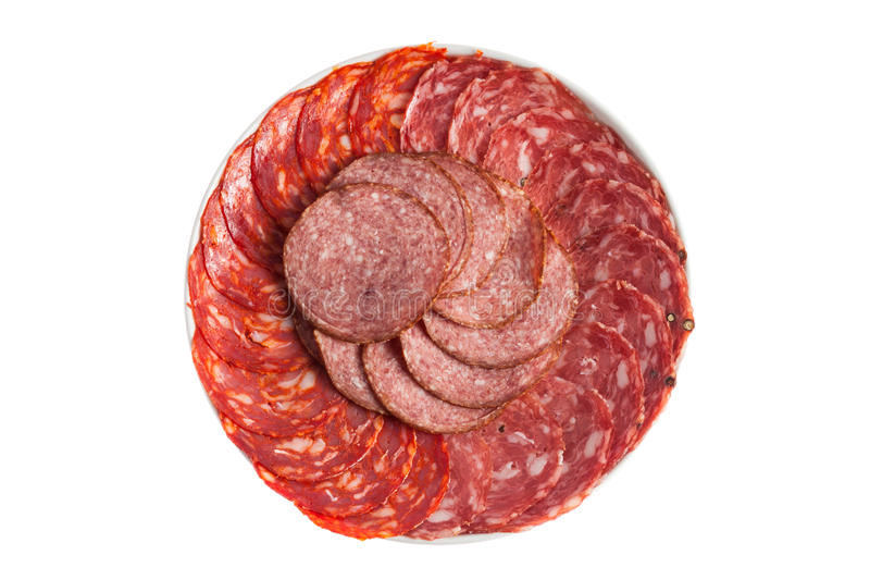 Chorizo, salchichon, salami sausage royalty free stock photo