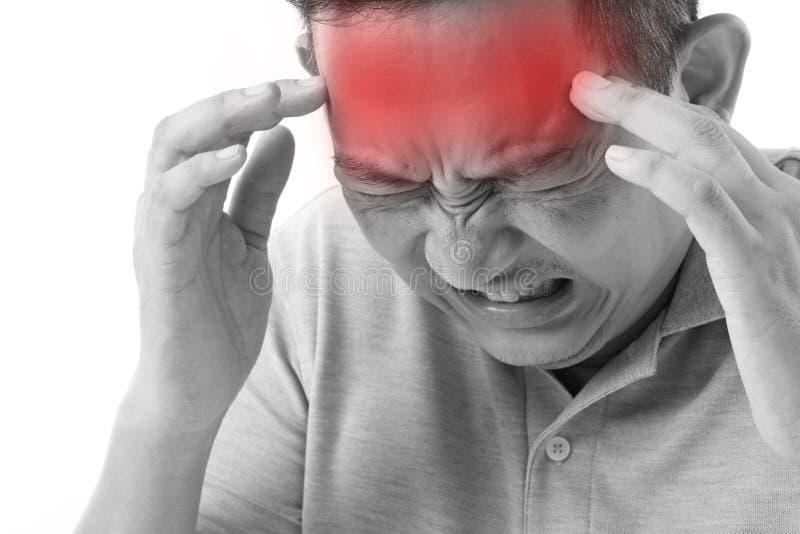 Choroba, stresujący mężczyzna cierpienie od migreny, migrena obrazy stock
