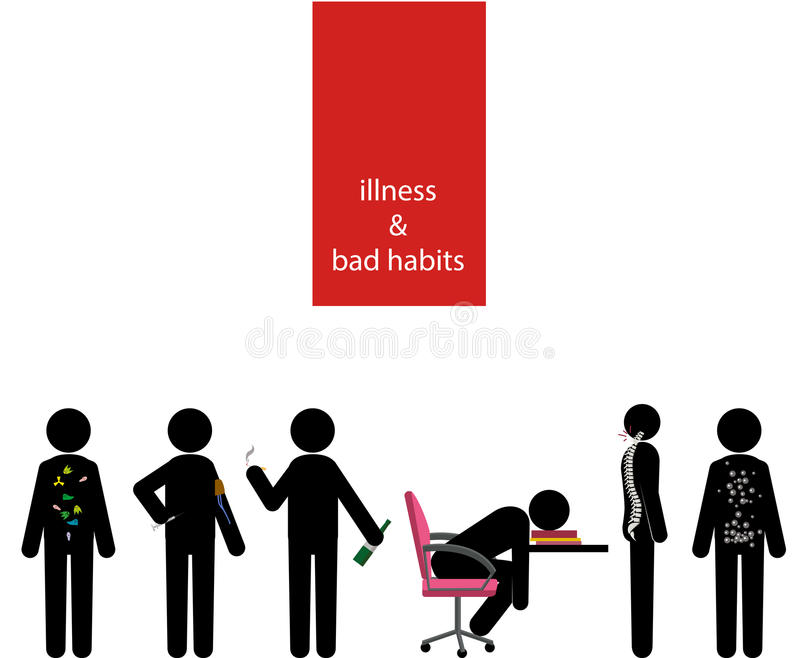 Choroby i złych przyzwyczajeń kija mężczyzna set ilustracji