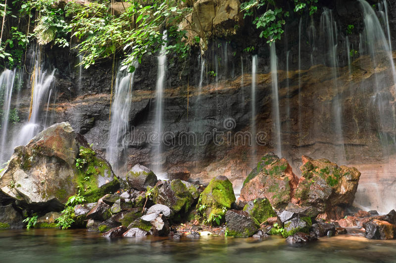 Chorros de la Calera waterfalls in Juayua, Ruta de las Flores it stock photography