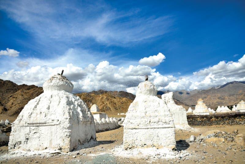 Chortens or Stupas near Shey on Leh-Manali highway,Leh-Ladakh, Jammu and Kashmir, India royalty free stock images