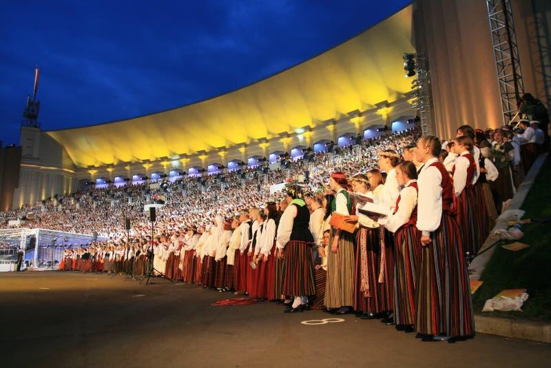 Chorus. Latvian Nationwide Song and Dance Celebration in Riga 2008 5.-12. July Latvia stock photo