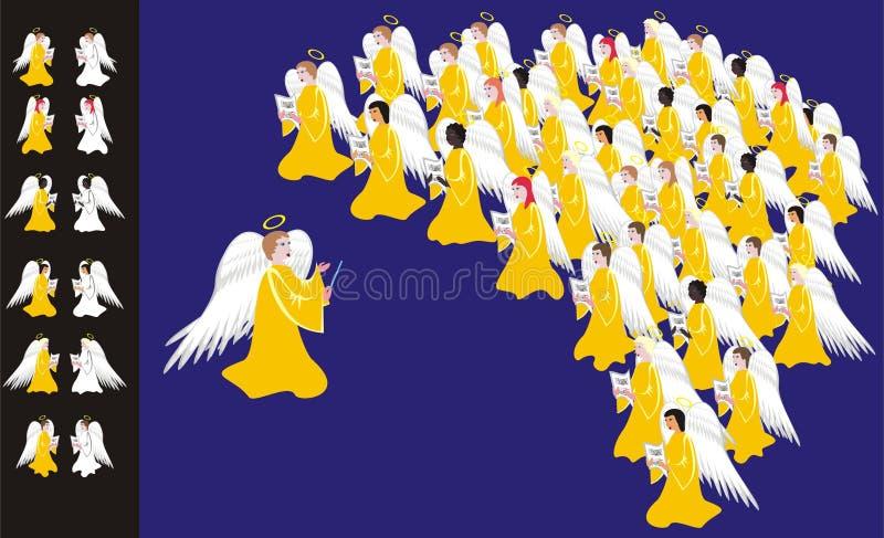 Chorus of angels. Multi-ethnic chorus of angels singing christmas carols vector illustration