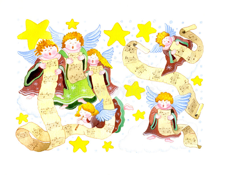 Chorus of angels. With musical papyrus and stars vector illustration