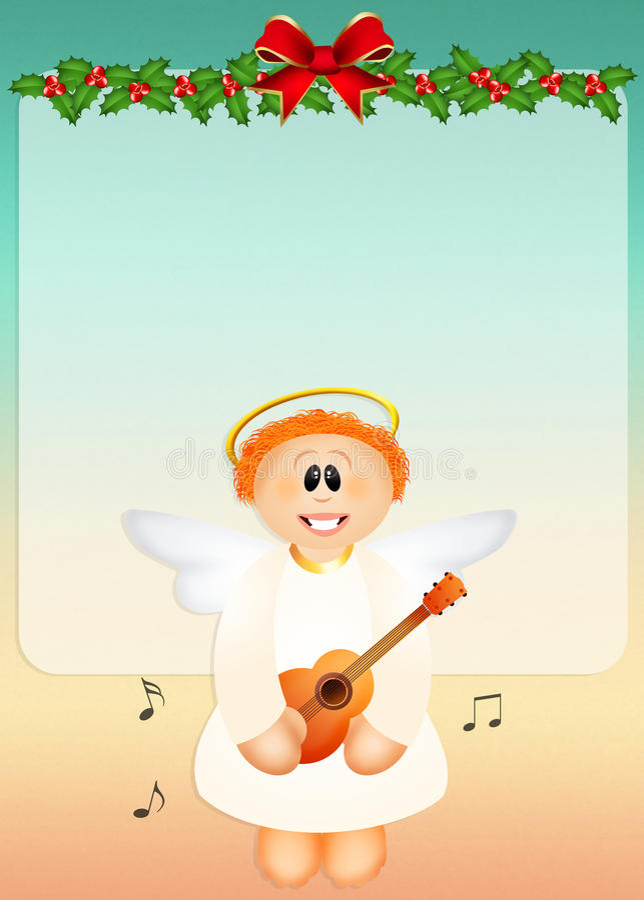 Chorus of angels. At Christmas vector illustration