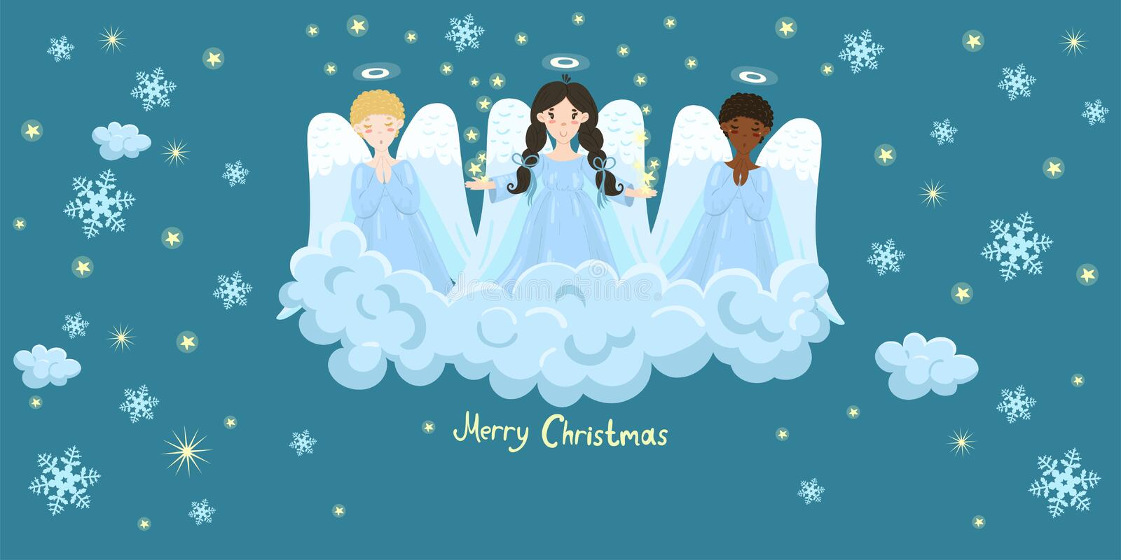 Chorus of angels on a cloud. Stars and snowflakes. Image vector illustration