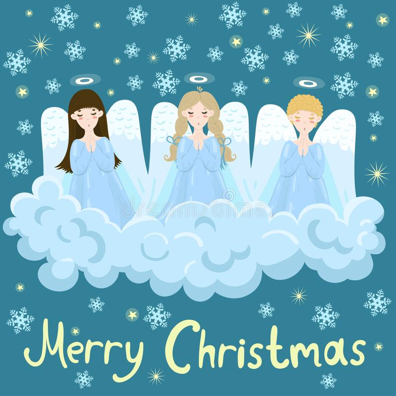 Chorus of angels on a cloud. Stars and snowflakes. Image stock illustration