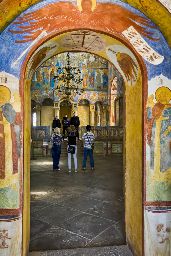 Chorus a capella in church. Rostov Kremlin. This is church choir singing acapella in front of tourists in the ancient Church of the Ascension June 3, 2013 in royalty free stock images