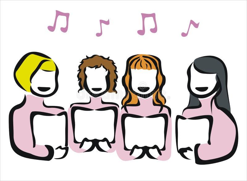 Chorus. Drawing of a chorus singing royalty free illustration