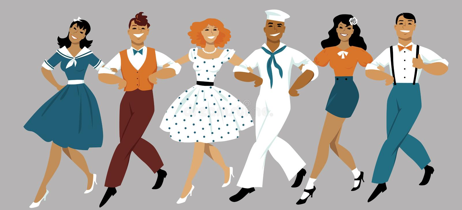 Chorus line. A chorus line of male and female performers dressed in vintage fashion dancing a routine in a classic musical theater, EPS 8 vector illustration stock illustration