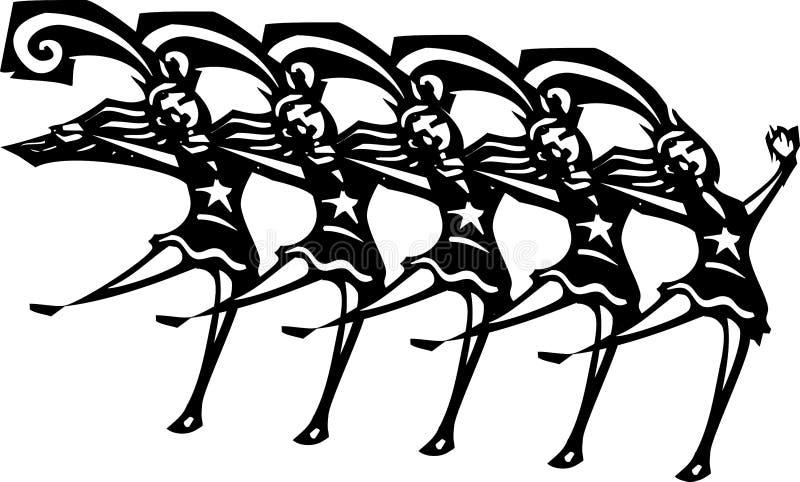 Chorus Line. Woodcut style image of women in a Vegas style chorus line vector illustration
